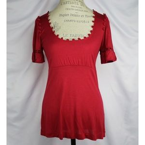 Anthropologie Mermaid Red Blouse Size M